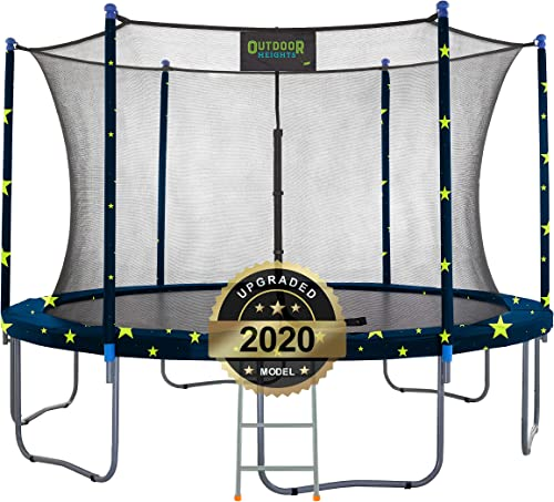 Outdoor Heights Trampoline for Kids and Adults, Outdoor or Indoor with Upgraded Safety Net Enclosure and Vinyl Pad Bonus 3 Step Ladder Included