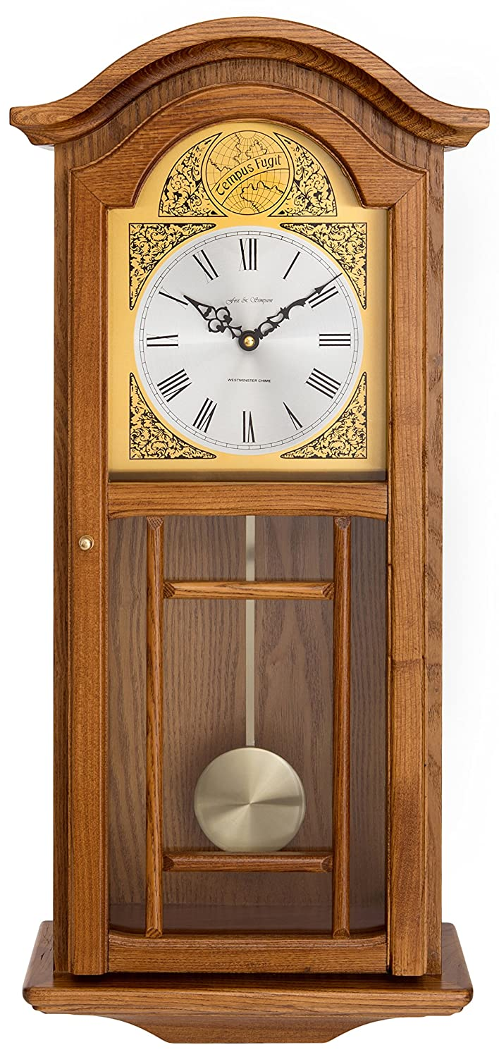 Amazon.com: Fox and Simpson Oak Colored Wood Penulum Wall Clock with Westminster Chimes: Home & Kitchen