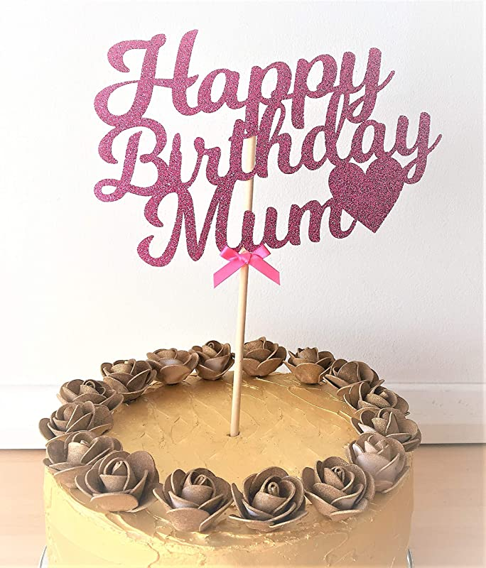 MUM Birthday Cake Topper PINK Glitter flower star butterfly