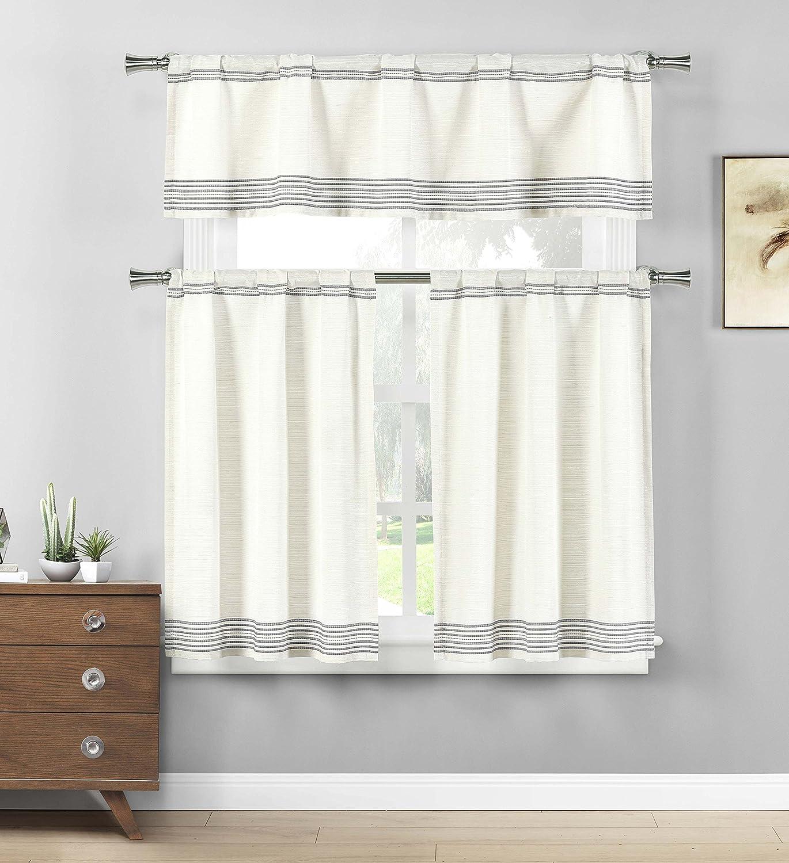 Amazon.de: Home Maison gestreift Küche Fenster Vorhang Set, grau, 2 ...