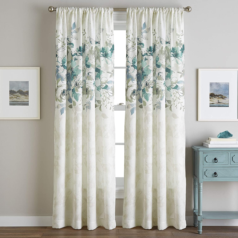Amazon Com Chf Watercolor Floral Print Rod Pocket Curtain Panel 84 Aqua Home Kitchen