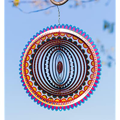 VP Home Kinetic 3D Metal Outdoor Garden Decor Wind Spinner (Sunrise Mandala) : Garden & Outdoor