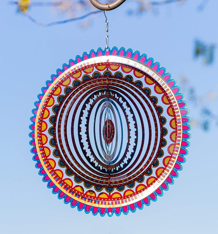 VP Home Kinetic 3D Metal Outdoor Garden Decor Wind Spinner (Sunrise Mandala)