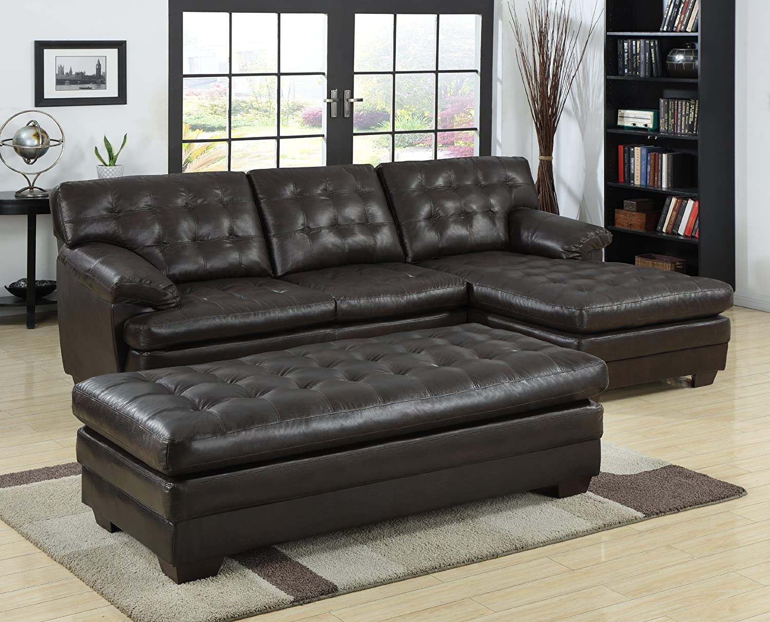 Amazon.com Homelegance 9739 Channel-Tufted 2-Piece Sectional Sofa Set Dark Brown with Bonded Leather Kitchen u0026 Dining : leather sofa with chaise lounge - Sectionals, Sofas & Couches
