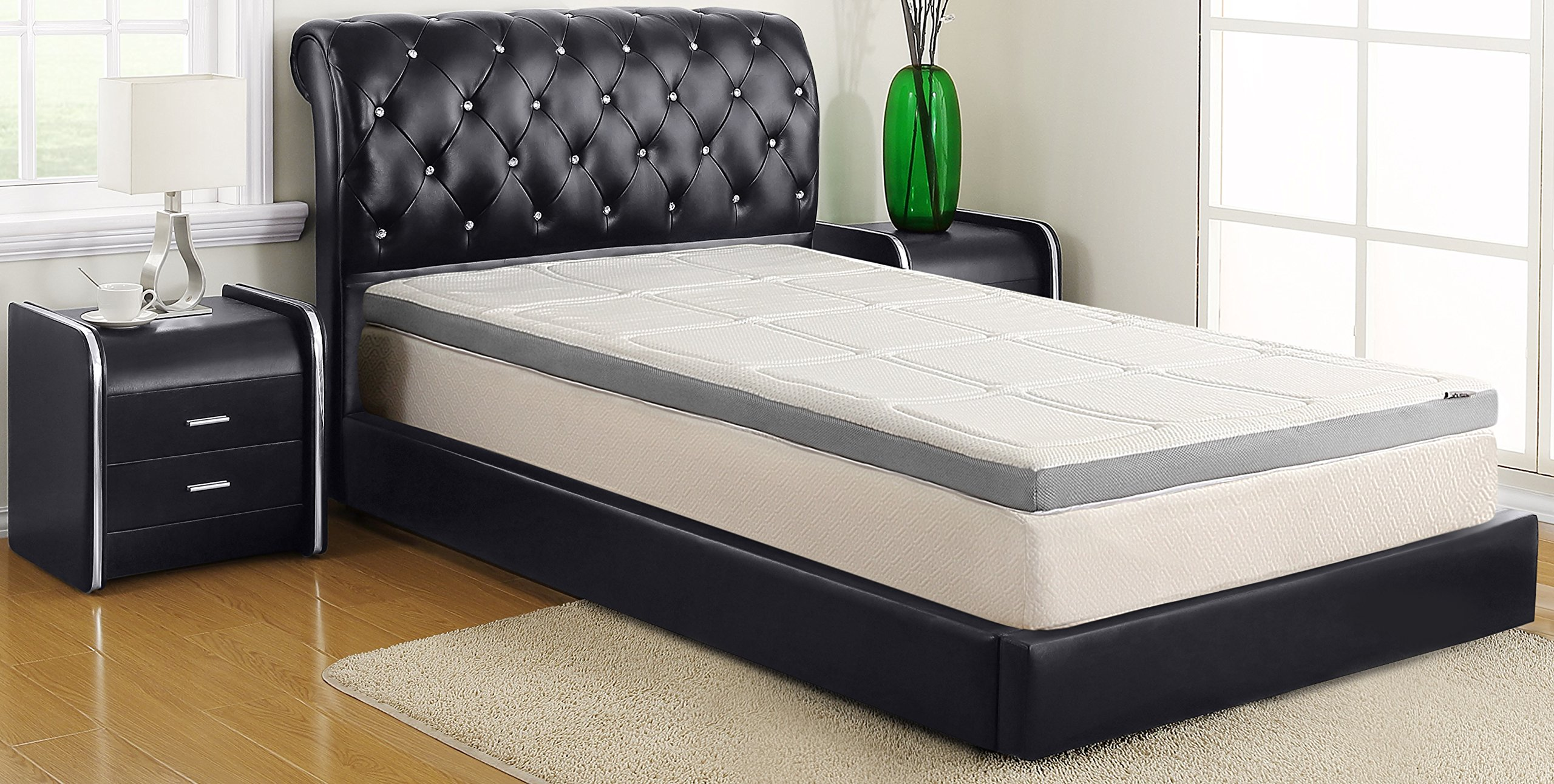 ALLRANGE 3-Inch Luxury Lurex Quilted Memory Foam Mattress Topper, Removable Quilted Cover, Mesh Gusset Sides, Hypoallergenic, Rolled Package, Full Size