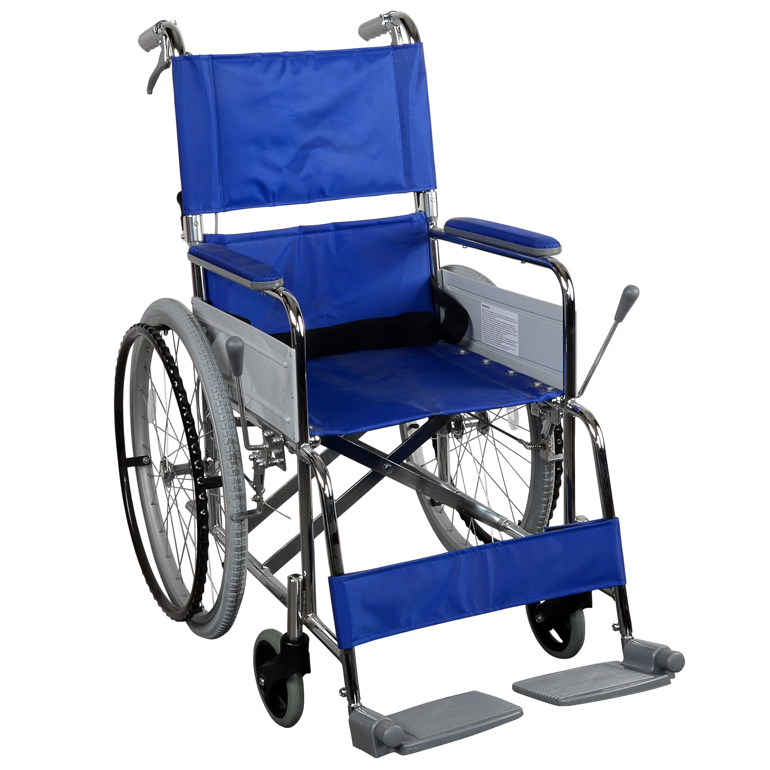 Cycle Force Manual Wheelchair with Attendant Operated Brakes, Blue