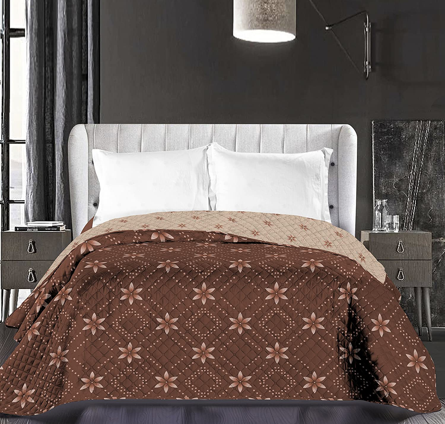 DecoKing Bedspread Beige Cappuccino Brown Chocolate, Reversible Bedspread Easy-care, Flower Floral Pattern Floral Theme Brown Chocolate, Hypnosis Collection Snowy Night, Polyester, Brown/Beige, 220 x 240 cm 86780