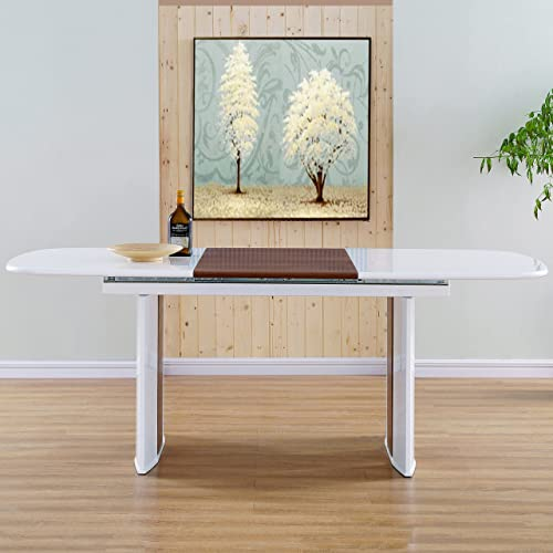 MIX DT--WHT WNT Extendable Table, 58.5 x 39 x 30 , White, Walnut