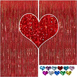 CYLMFC Tinsel Curtain - 2 Pack Red Foil Fringe Curtains Party Decorations