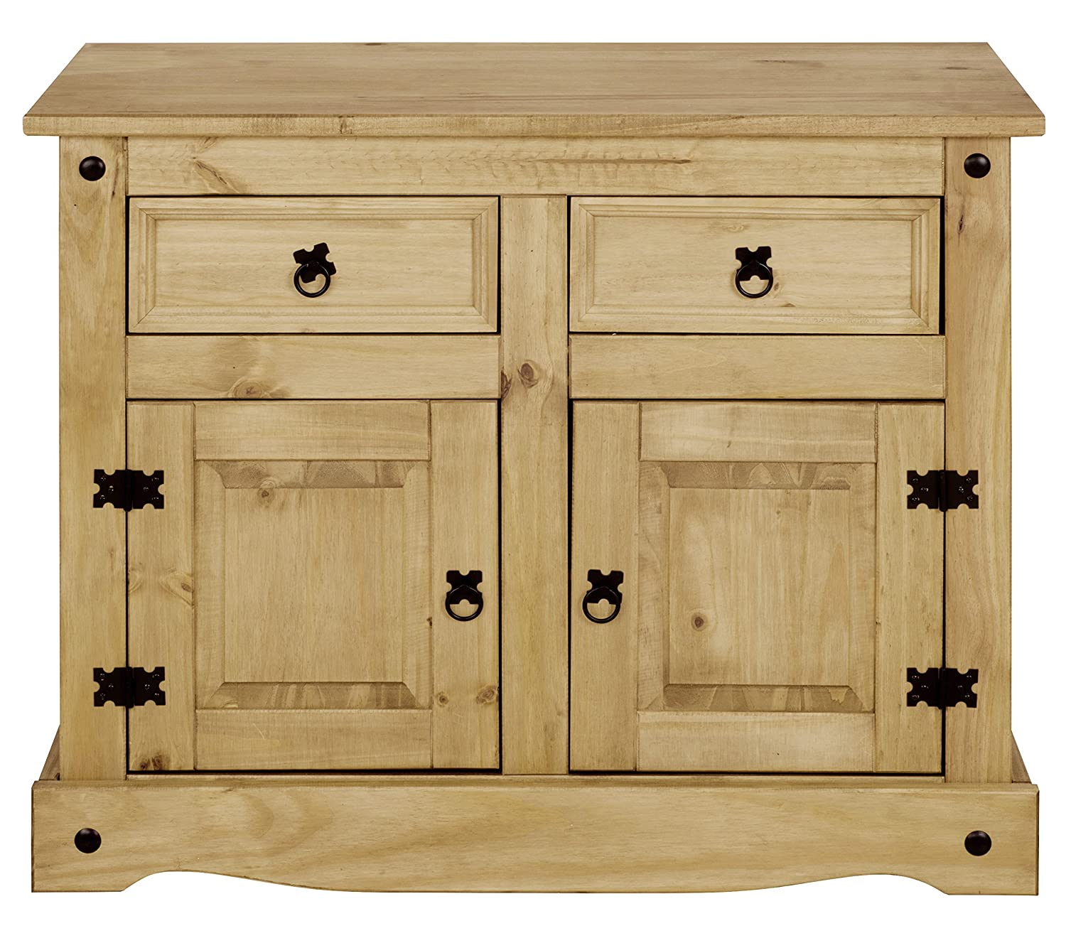 Corona Mexican Pine Sideboard | 2 Drawers & 2 Doors | Rustic Design, Wood, Beige, 84cm H x 92cm W x 44cm D P501-CR