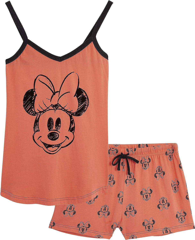 Disney Pijamas Mujer, Ropa Mujer de Algodón, Pijama Mujer Verano Corto de Mickey Mouse o Minnie Mouse, Set con Camiseta Tirantes Mujer y Pantalón Corto, Regalos para Mujer Adolescentes