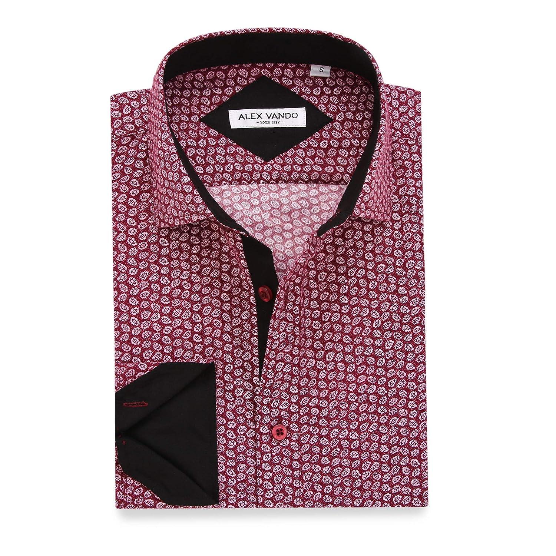 Alex Vando Mens Printed Dress Shirts Long Sleeve Regular Fit Casual Button Down Collar Shirt