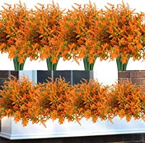 Summer Flower 8 pack Fake Plants Orange Lavender Outdoor,Faux Flowers UV Resistant Shrubs,Artifical Fall Flower Hanging Plant Greenery for Garden Front Porch Window Box Wreaths Table Indoor Decoration