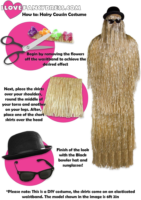 ILOVEFANCYDRESS® - Juego de 4 Faldas de Hula de Hierba Natural para Disfraz de Familia gótica de Peluche, Color Negro