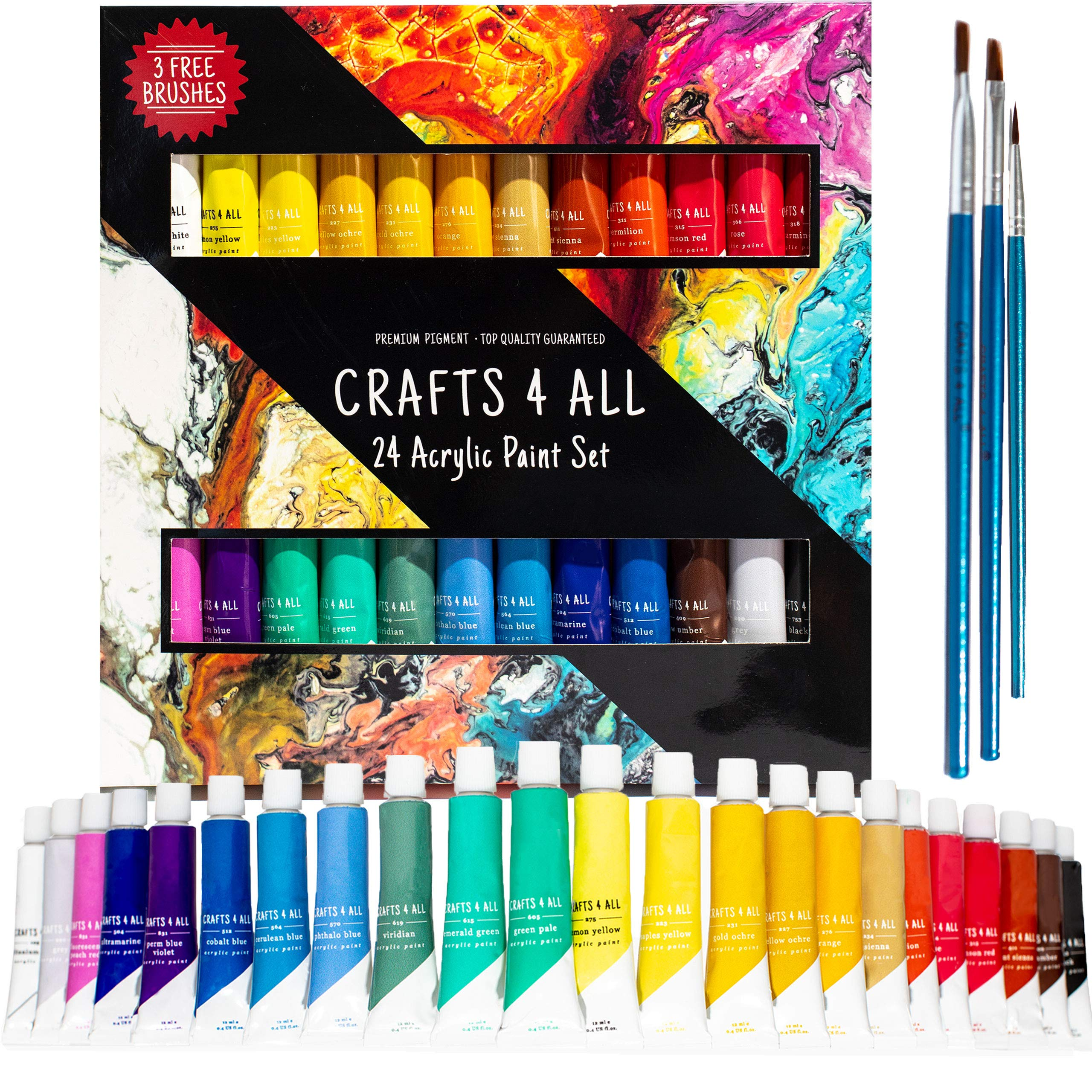 Acrylic Paint Set 24 Colors by Crafts 4 ALL Perfect for Canvas, Wood, Ceramic, Fabric. Non Toxic & Vibrant Colors. Rich Pigments Lasting Quality for Beginners, Students & Professional Artist by Crafts 4 ALL