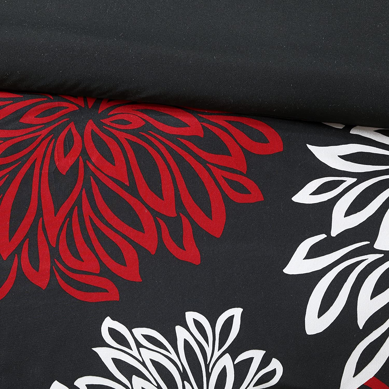Comfort Spaces – Enya Comforter Set - 5 Piece – Black, Red – Floral Printed – Full/Queen
