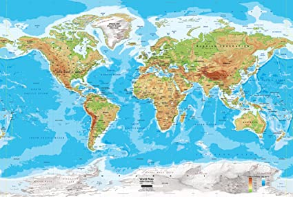 Physical Map Of The World Amazon.com: Academia Maps   World Map Wall Mural   Blue Ocean