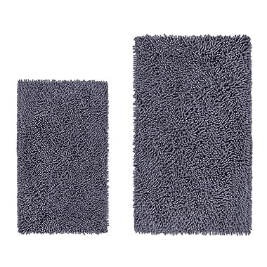 LuxUrux Bathroom Rug Set–Extra-Soft Plush Bath mat Shower Bathroom Rugs,1'' Chenille Microfiber Material, Super Absorbent. (Rectangular Set, Dark Gray)
