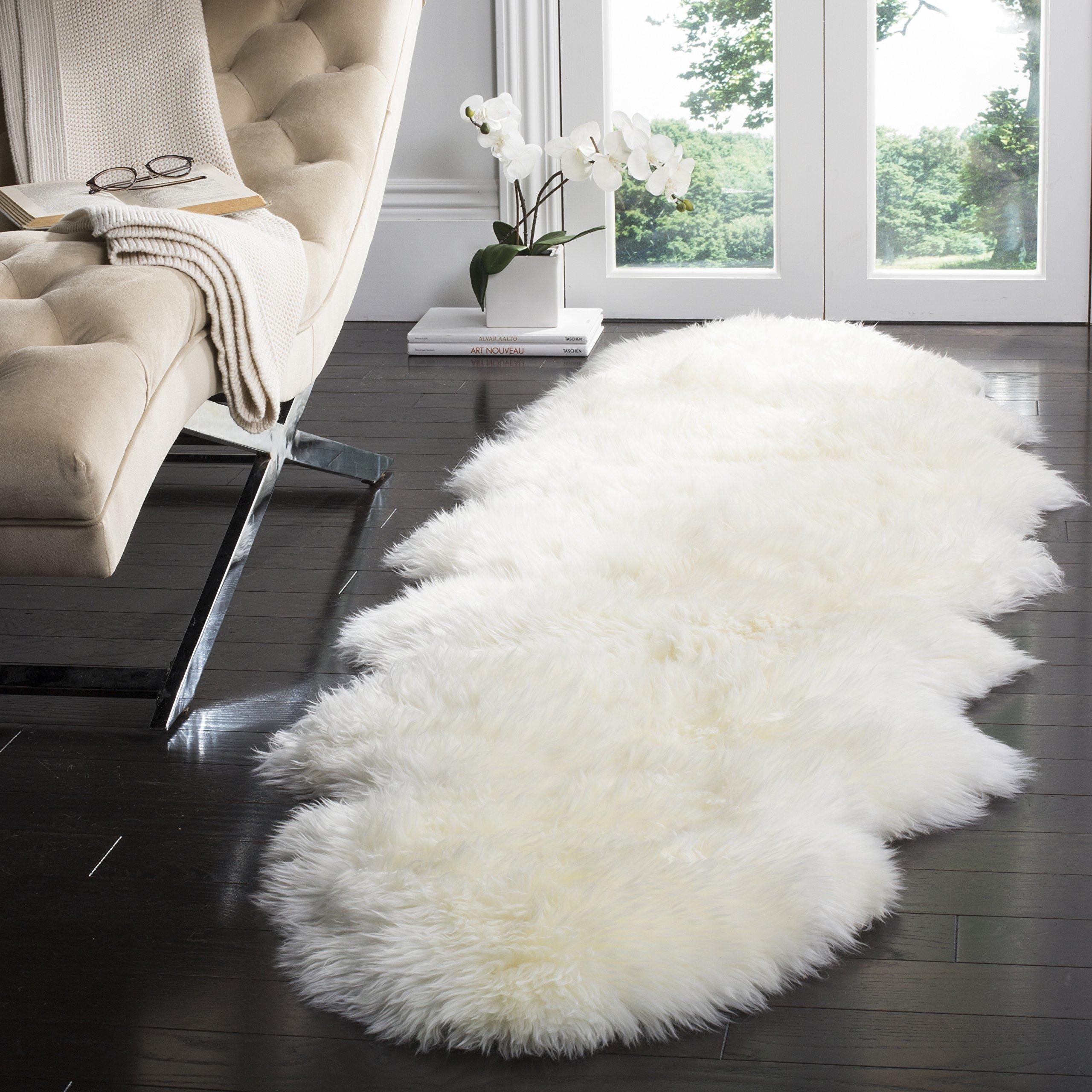 Safavieh Sheepskin Collection SHS121A Genuine Sheepskin Pelt White Premium Shag Runner (2' x 6')