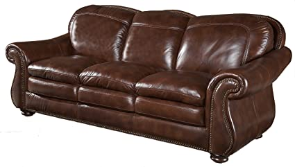 Amazon.com : Hanover Leather Sofa by Leather Italia USA ...