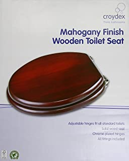 wooden d shaped toilet seat. Croydex Solid Wood Toilet Seat  Mahogany Chrome Fitting Adult With Slow Close Stainless Hinges D Shape