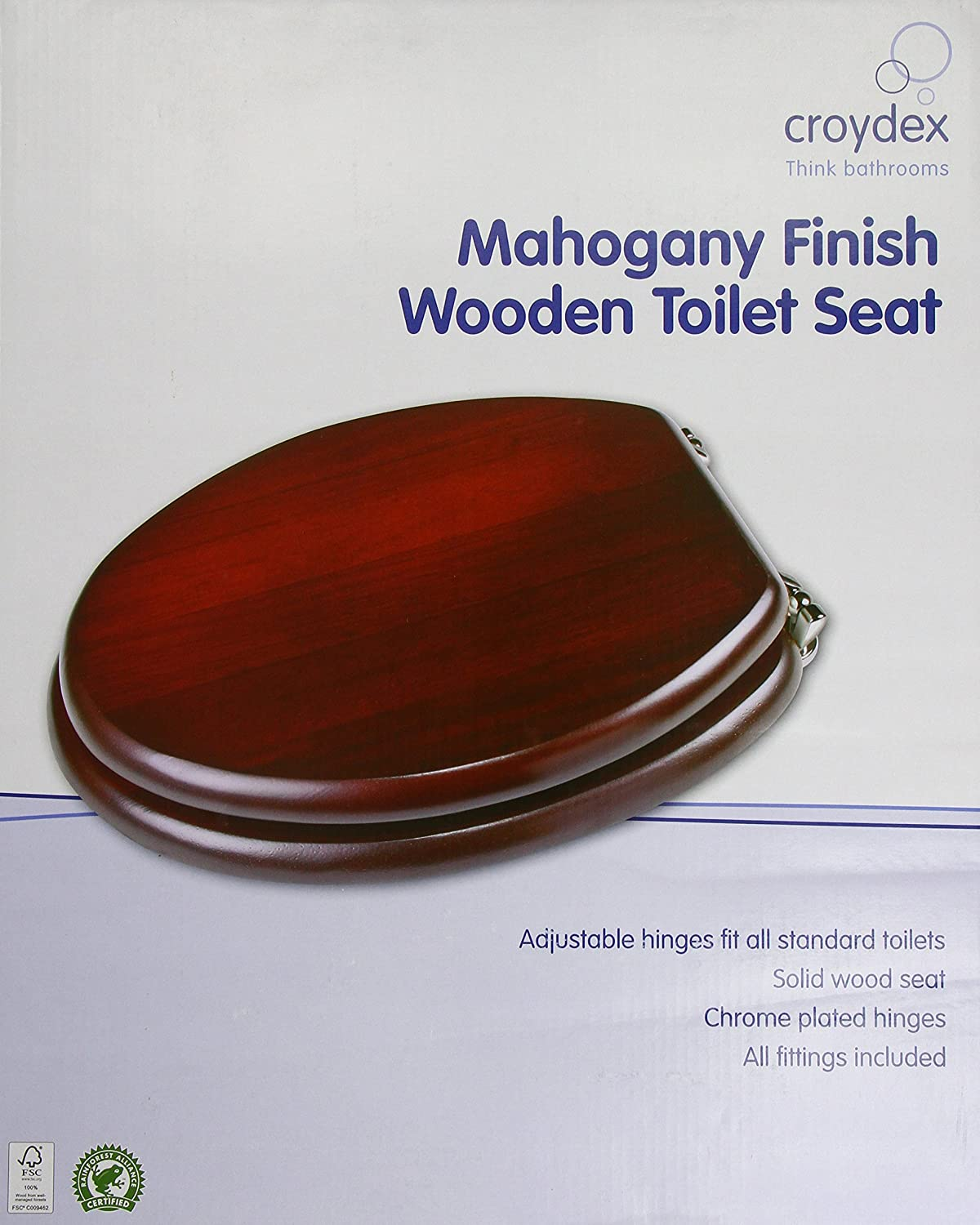 wooden toilet seat hinges. Croydex Solid Wood Toilet Seat  Mahogany Chrome Fitting Amazon co uk Kitchen Home