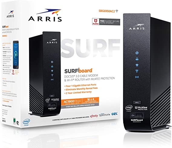 ARRIS SURFboard (16x4) DOCSIS 3.0 Cable Modem Plus AC1900 Dual Band Wi-Fi Router