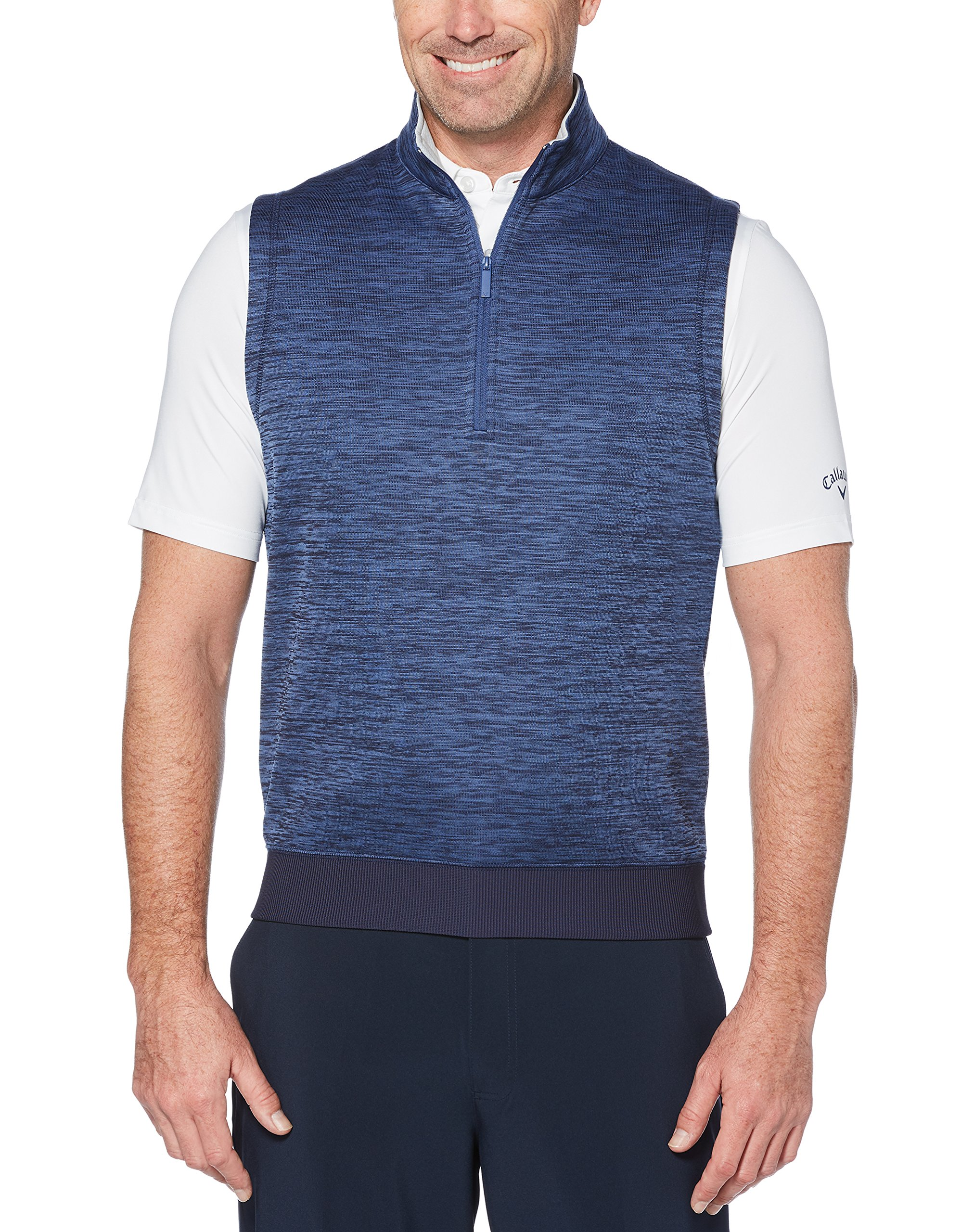 Callaway Men's Water Repellent 1/4 Zip Golf Vest, Peacoat Heather, 2X-Large by Callaway