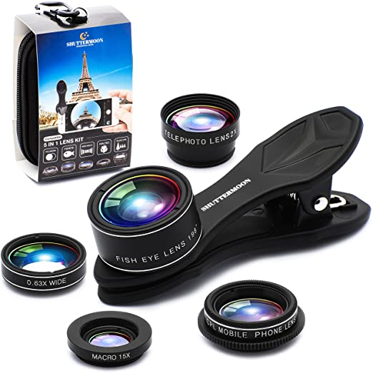 Amazon Com Shuttermoon Upgraded Phone Camera Lens Kit For Iphone 12 11 Xs R X 8 7 Smartphones Pixel Samsung Android Phones Camera 2xtele Lens Zoom Lens Fisheye Lens Super Wide Angle Lens Macro Lens Cpl 5 In 1