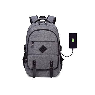 """Ahyapiner Oxford Cloth 15"""" Laptop and Notebook Backpack with USB Charging Port Shoulder Bag Student School Bag Gray 50%OFF"""