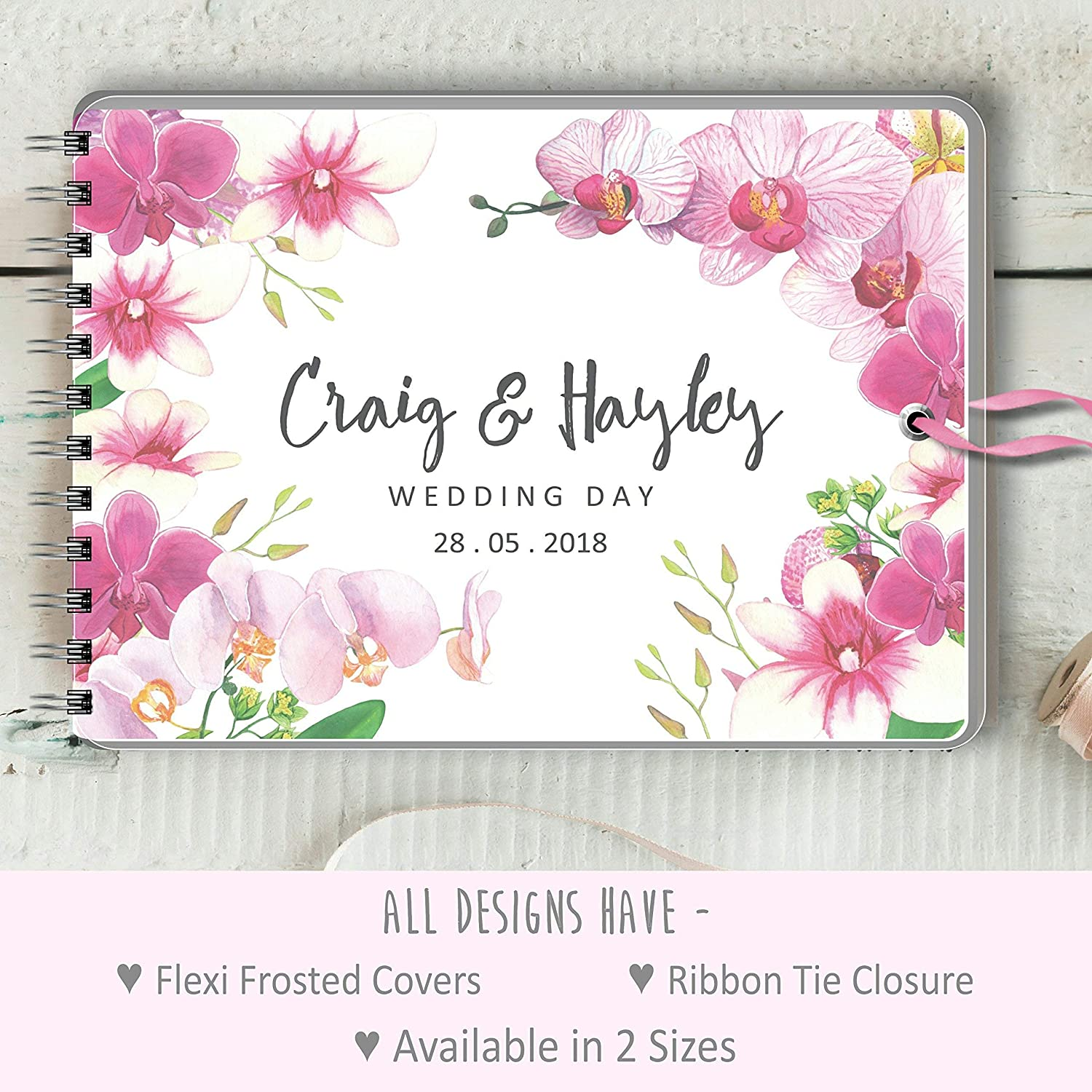 Guest Book Pink Orchid Message Book Personalised Wedding Birthday 2 Sizes Photo Album