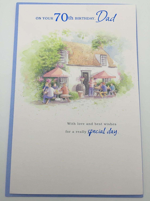 Happy 70th Birthday Dad Birthday Greetings Card Amazon