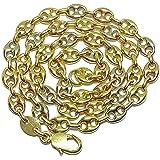 Impresionante cadena de calabrote de oro amarillo, oro rosa, y oro blanco de 18k maciza con calabrotes de 8x6mm y 45cm…