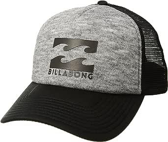 BILLABONG Classic Trucker Hat, Men's, Black/White/and Grey Heather, Screenprinted Logo Front Bill, ONE