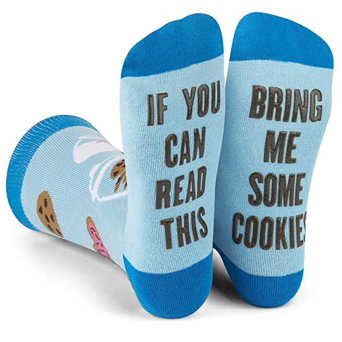 Lavley - If You Can Read This Bring Me Novelty Socks - Funny Dress Socks For Men and Women (Milk and Cookies)