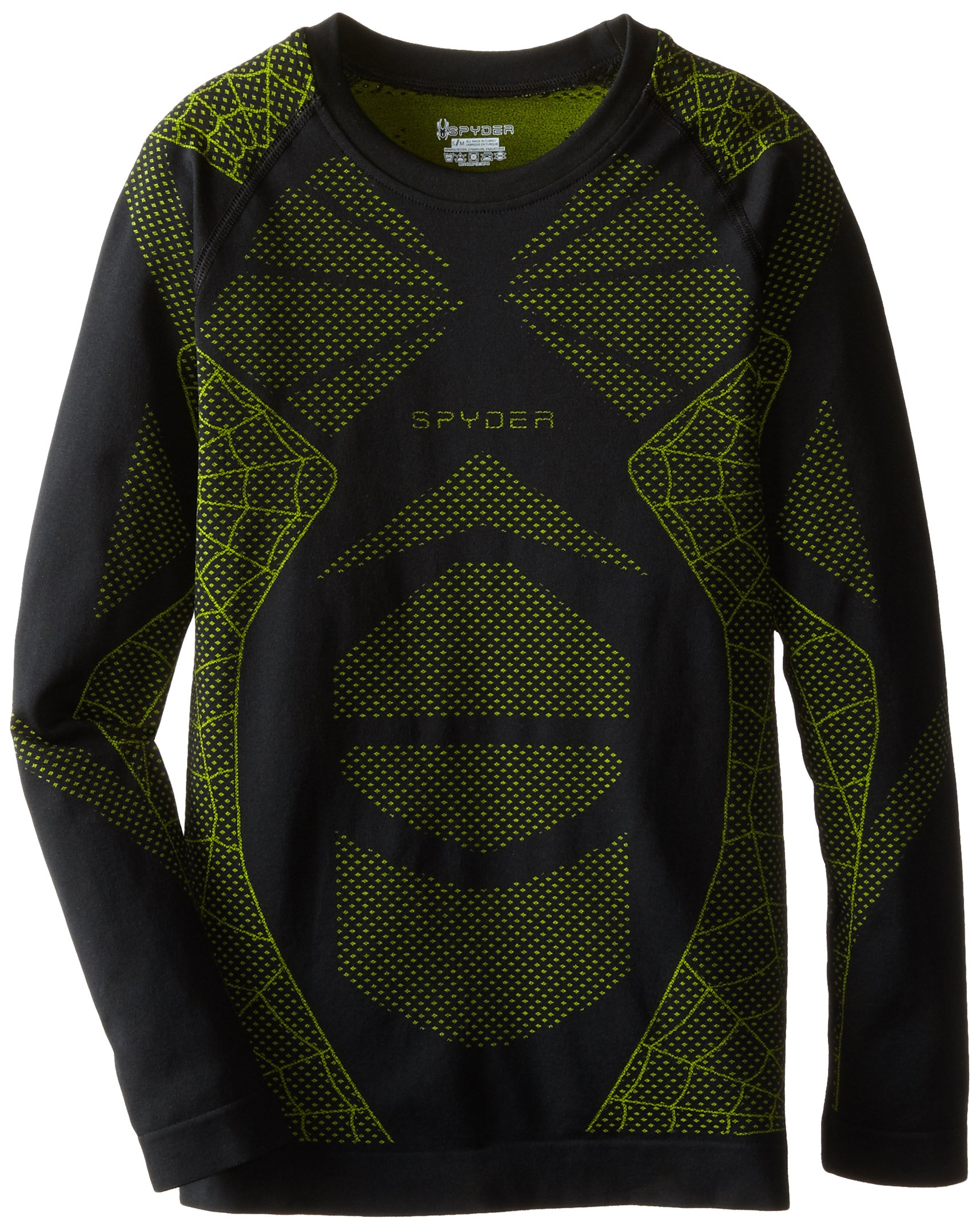 Spyder Boys KidsLittle Racer Long Sleeve Top (Little Big Kids), Black/Theory Green, Small/Medium