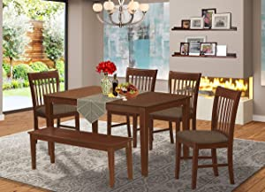East West Furniture CANO6C-MAH-C Room Set 6 Piece Linen Fabric Dining Chairs Seat - Mahogany Finish Small Rectangular Table and Kitchen Bench, Microfiber Upholstered