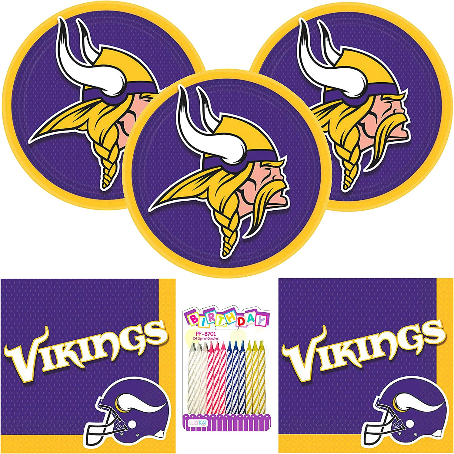 Amazon Com Minnesota Vikings Nfl Football Team Logo Party Supplies Pack Serves 16 9 Plates And Luncheon Napkins With Birthday Candles Bundle For 16 Toys Games