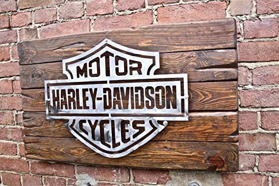 H-D – Gran cartel con logo de hierro – Iron & Wood Art ...