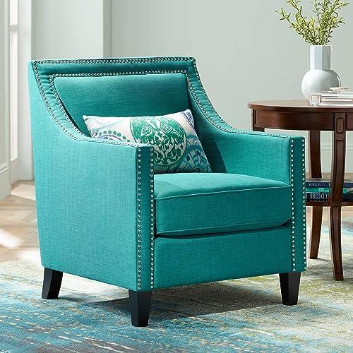 Flynn Teal Upholstered Armchair – Studio 55D