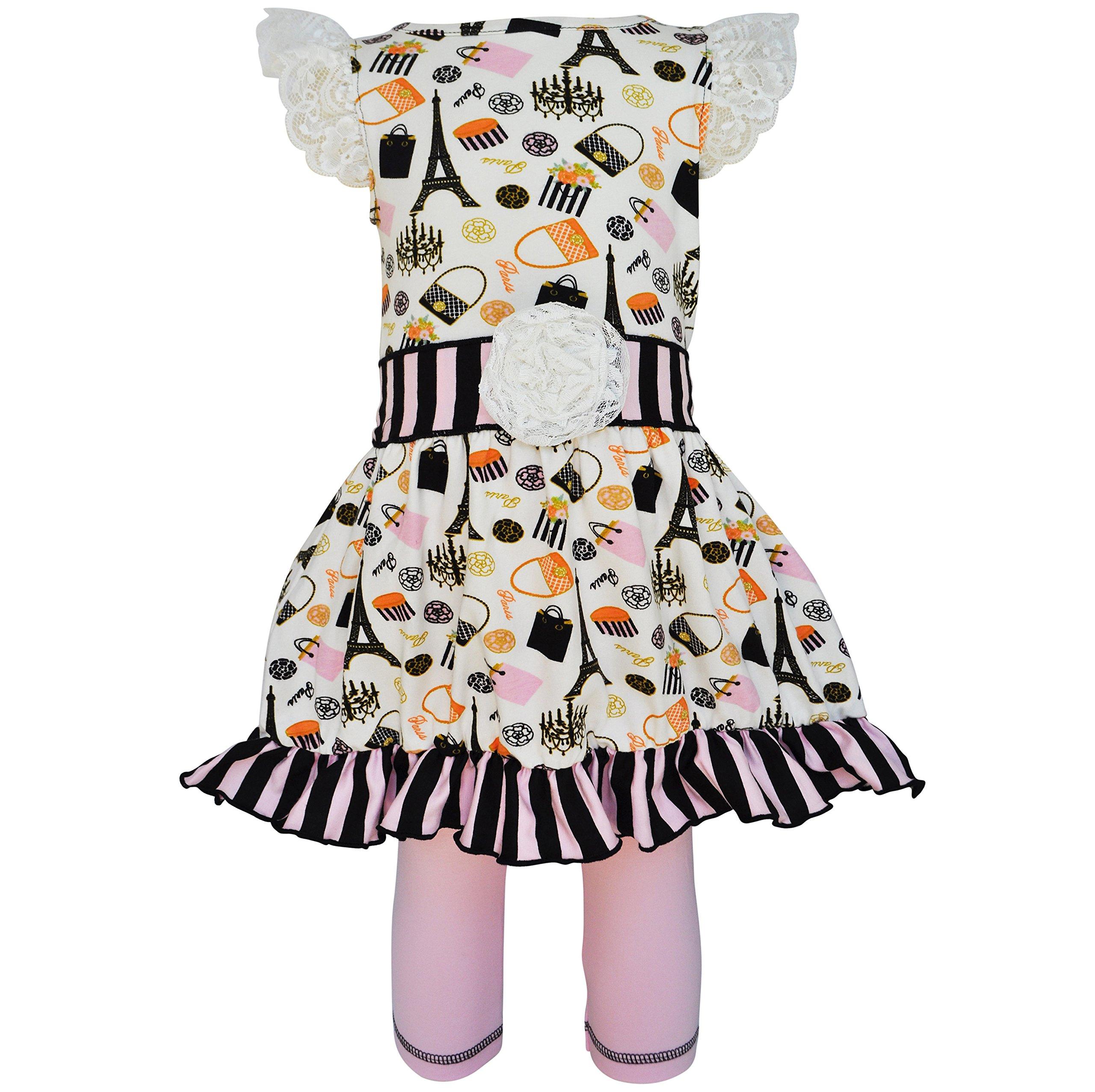 AnnLoren Paris Posh Eiffel Tower Girls Cotton Dress and Stripes Legging Outfit