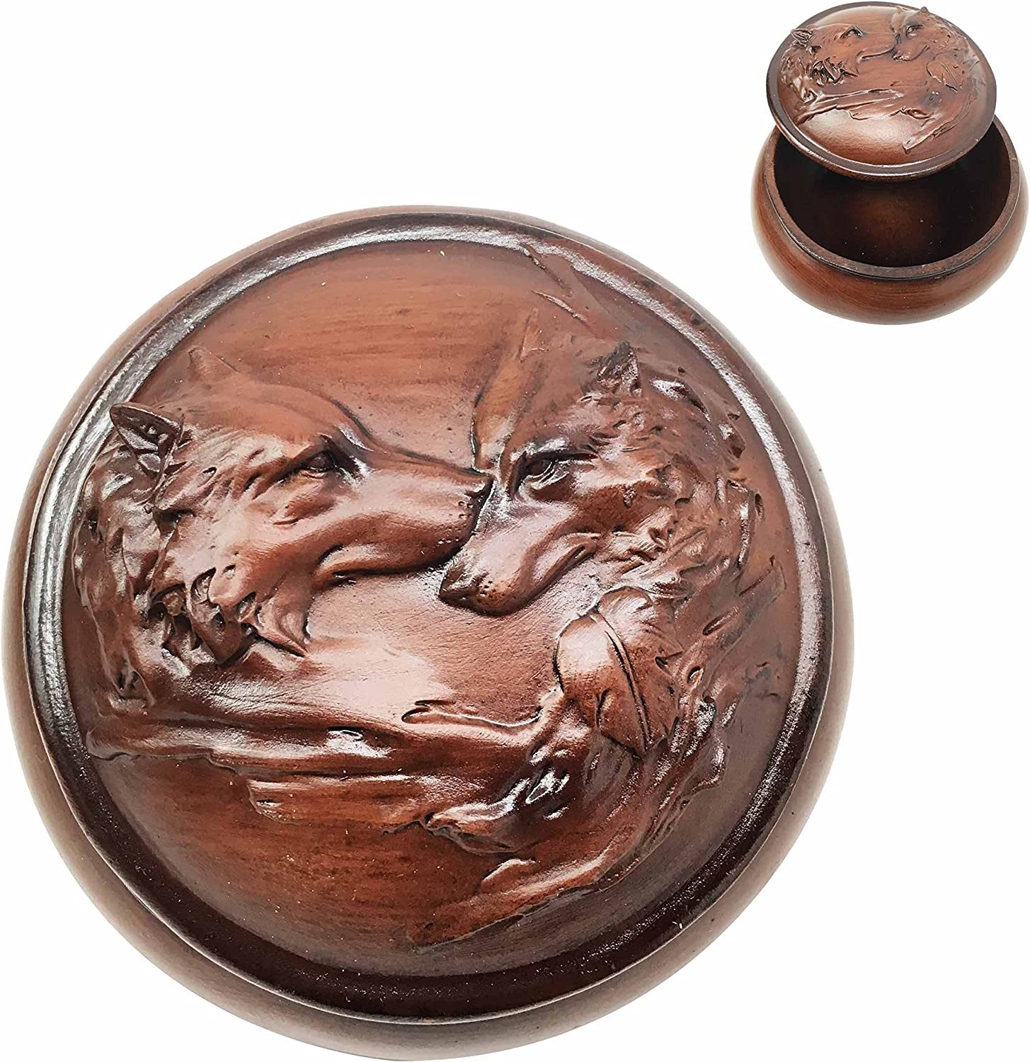 Ebros Gift Faux Wood Resin Moon Light Lovers Wolf Couple Rounded Jewelry Decorative Box Figurine As Decor of Timberwolves Wolves In Cries Of The Night Animal Totem Spirit Sculpture Accessory Storage