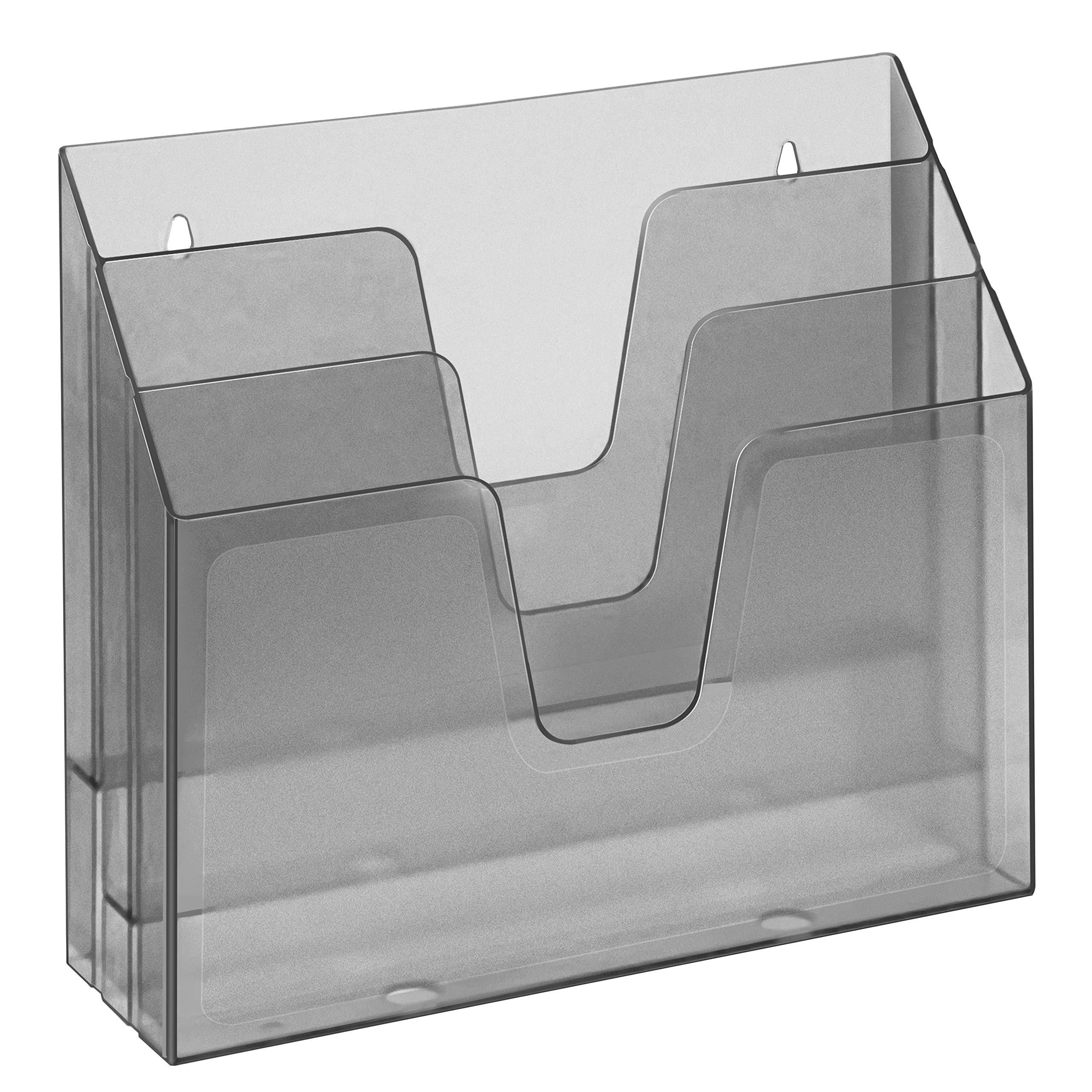 Acrimet Horizontal Triple File Folder Organizer (Smoke Color)