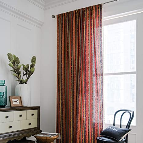 Bohemian Window Curtains Ethnic Striped Printing Curtain Panels Crochet Lace Trim Curtains Linen Semi Blackout Curtains Rod Pocket Design For Living Room Bedroom 52 84 2 Panels Set Kitchen Dining