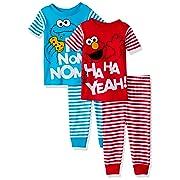 a27e048cb Sesame Street Baby Boys 4-Piece Cotton Pajama Set, Elmo and Cookie Monster  Stripes 12M