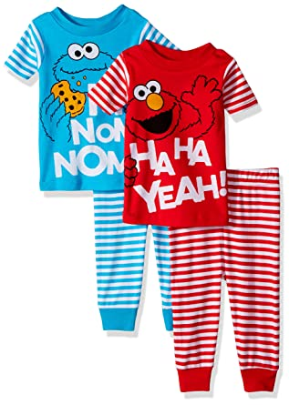 Sesame Street Boys Elmo 4 Piece Cotton Pajama Set And Cookie Monster