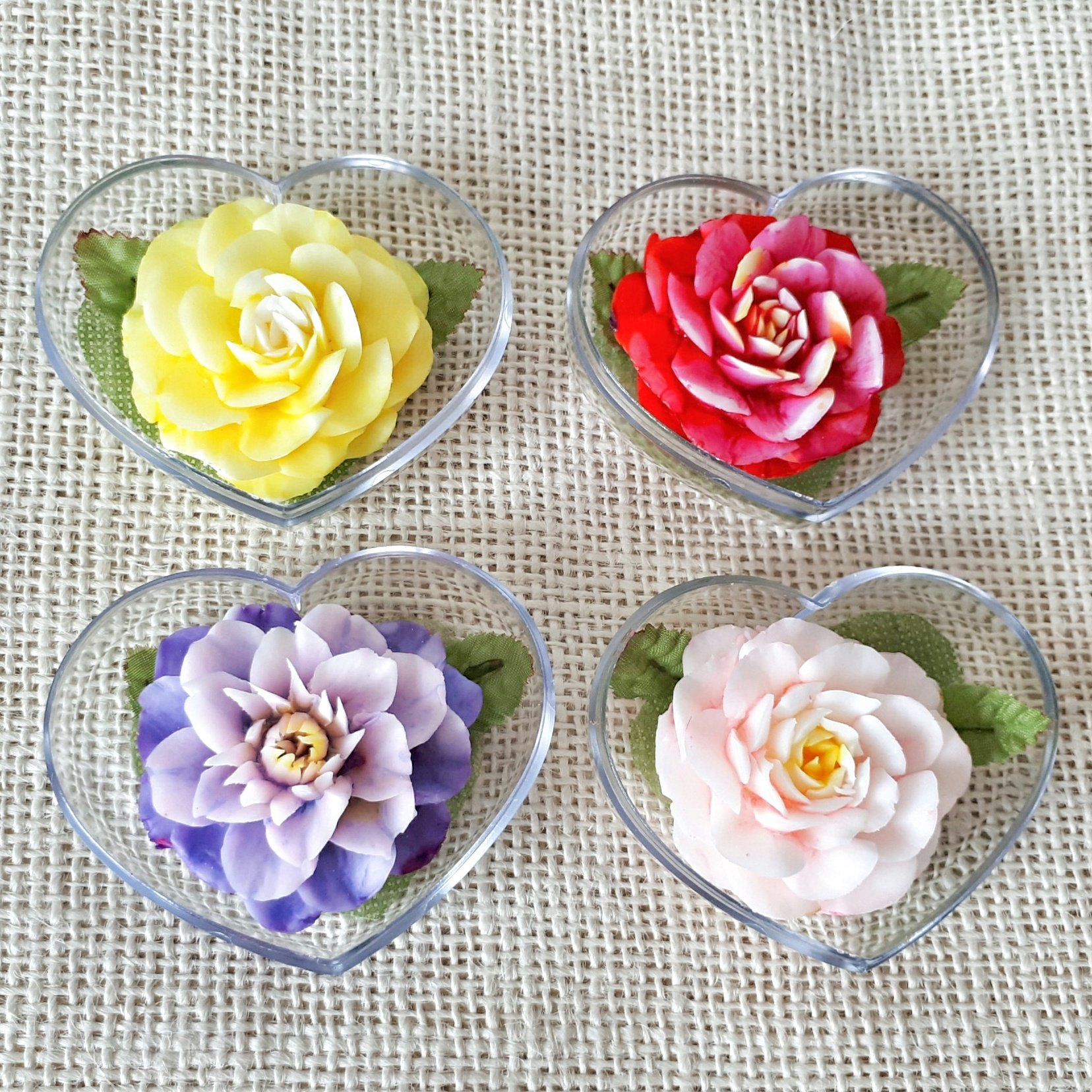 Blooming Flower Set of 4 Hand Carved Decorative Soaps with Jasmine Aroma Essential Oil, Handmade Flower Soap Carving by Thai Artisan. Unique Gift and Wedding Favor Ideas in Heart Box by Bamboo
