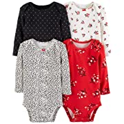 Carter's Unisex Baby 4-Pack Long-Sleeve Bodysuits (6 Months, Girls Red/Multi)
