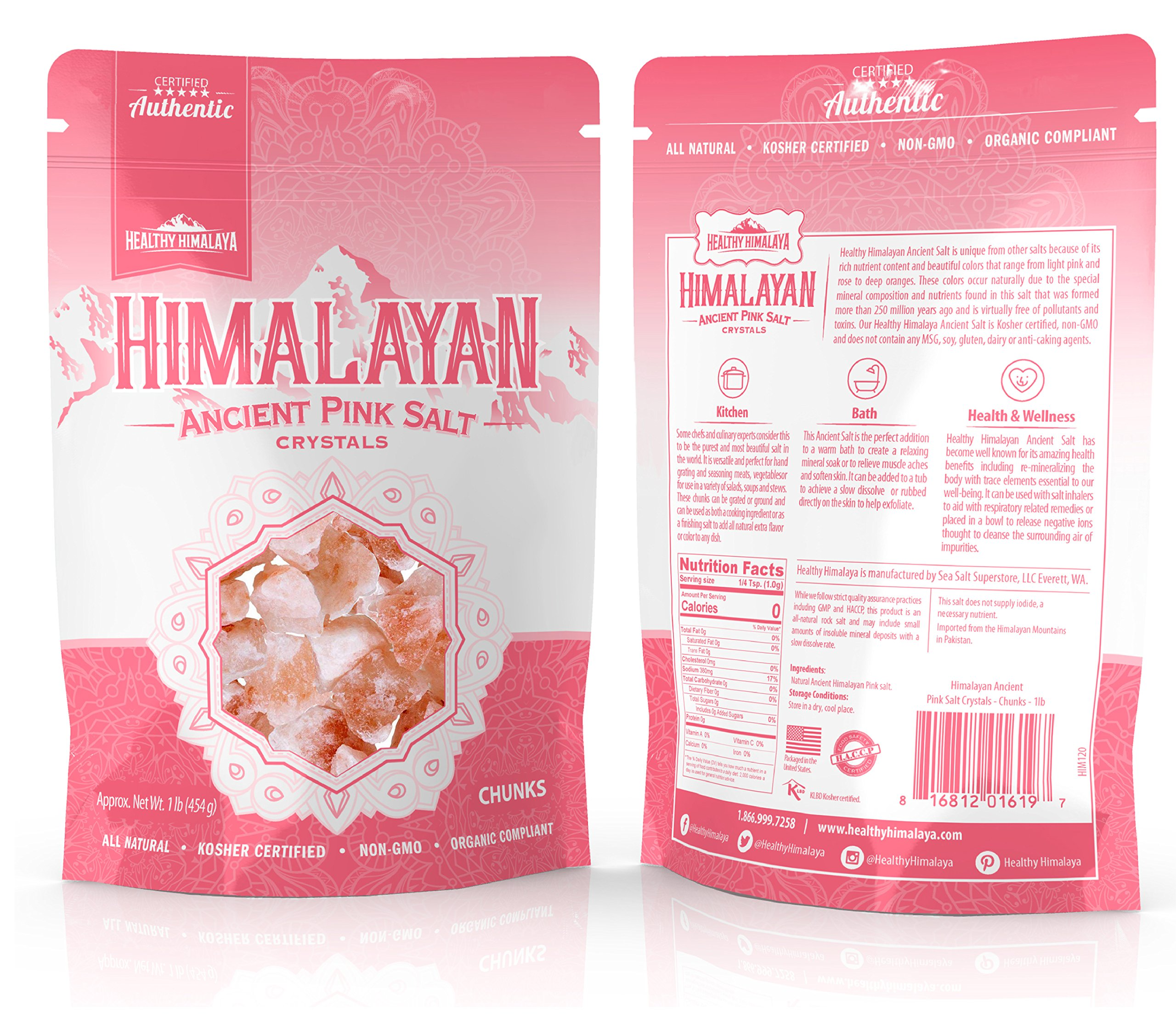 Healthy Himalaya Premium Food Grade Pink Himalayan Salt Chunks, 2 Pounds …