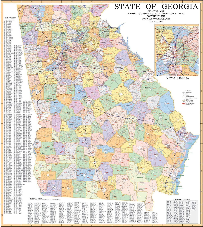 Zip Code Map Georgia Amazon.com: State of Georgia Zip Code Wall Map Laminated 2020